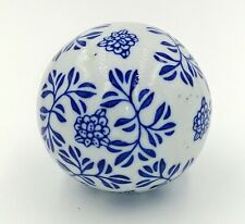 "Oriental Furniture 3"" Porcelain Blue & White Floral Asian Decorative Ball"