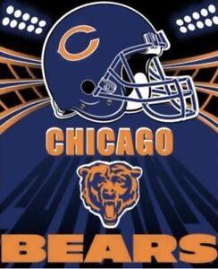 "Brand New NFL Chicago Bears Blue And Orange Fleece Throw Blanket 50"" * 60"""