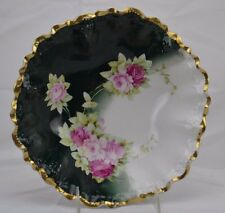 Weimar Germany Bavaria Round Center Bowl Signed Scalloped Roses Gold Trim