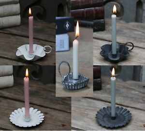 Vintage Style Small Candle holder for Mini Candle White Black Zinc Heart Design
