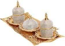 25 Pcs Turkish Tea Glasses Saucers Spoon Tray Set,Decorated Crystals & Pearls