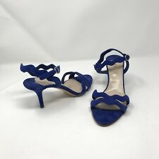Prada Womens Heels Blue Suede Open Toe Strappy Size 40