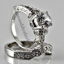 Sterling Silver Round cut Lab Diamond Engagement Ring Wedding Set Women's size 7