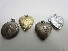 4 Vintage Lockets- Hearts & Round- Sterling, Gold Filled & Brass