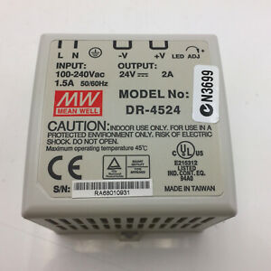 MEANWELL	DR-4524 Power Supply In 100-240V Out 24VDC 2A