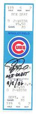 RAFAEL PALMEIRO AUTO SIGNED MLB DEBUT TICKET CHICAGO CUBS 9/8/86
