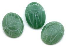 ONE 25x18 25mm x 18mm Green Aventurine Scarab Gem Stone Gemstone Cab Cabochon