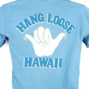 Hang Loose Hawaii T Shirt Vintage 80s Surfer Surfing Single Stitch Size Small
