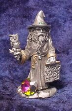 Pewter Wizard holding Owl & Magic Scroll with Crystals