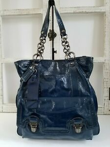 COACH POPPY DARK BLUE PATENT LEATHER SHOULDER BAG