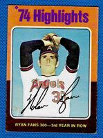 Nolan Ryan 1975 Topps #5 - 1974 Highlights - California Angels - Very Good Cond.