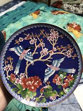 Chinese Cloisonne Collector Plate Winged Jewels Azure Winged Magpie China