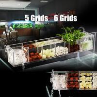 Elegant External Hang On Filter Box 5/6 Grids Acrylic Aquarium Fish Tank New