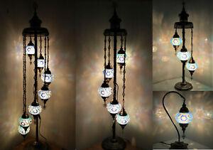 Beautiful 1/3/5/7 Shinny Blue Ball Turkish Moroccan Glass Floor/Table Lamp