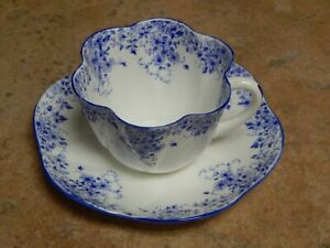 VTG SHELLEY ENGLAND DAINTY BLUE  CUP AND SAUCER