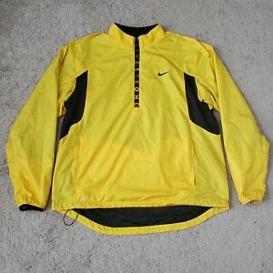 Nike Livestrong Pullover Windbreaker Jacket Men XL Yellow 1/2 Zip Vented Fit Dry