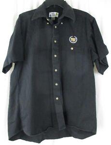 GM General Motors Cadillac Black Button Front Shirt Men's sz Large Texas