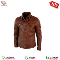 Mens Real Leather Shirt Jacket Brown Real Soft Genuine Waxed Leather Shirt NEW