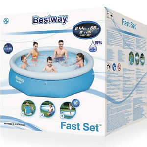 Bestway 8ft Fast Set Family Swimming Pool Outdoor Garden Patio Pool 8ft x 26inch