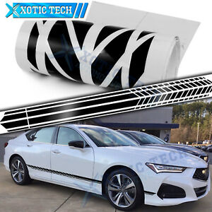 2x Glossy Black Side Fender Door Sporty Graphic Stripe Sticker For Acura TSX TLX