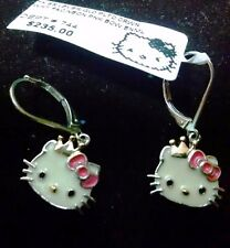 Hello Kitty Enamel Pink Bow 925 Sterling Silver Leverback Earrings