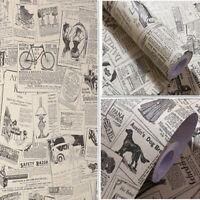 3m Vintage Newspaper Wallpaper Stickers Vinyl Self Adhesive Wall Cover Bedroom
