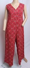 Vtg 60's Red Black Western People House Floral Bandana Print Palazzo Jumpsuit