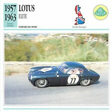 Lotus Elite Sport 4 Cyl. Coventry-Climax 1957 GB/UK CAR VOITURE CARTE CARD FICHE