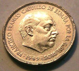 1949 (50) Spain 5 Peseta Ch BU Lustrous White Spanish Crown Size 5P World Coin