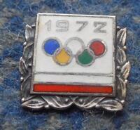 NOC POLAND OLYMPIC MUNICH SAPPORO 1972 - 4 TIER SILVER VERSION ENAMEL PIN BADGE