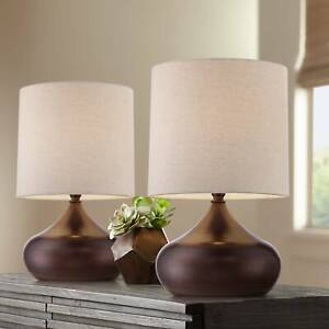 Mid Century Modern Accent Table Lamps Set of 2 Brown Steel Droplet Drum Shade