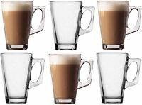 NEW SET OF 6 LATTE GLASSES TEA COFFEE CAPPUCCINO GLASS CUPS HOT DRINK MUGS 240ml