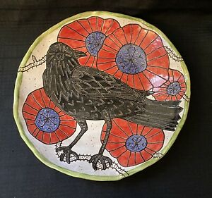 ANIMALIA Studio Pottery Raven Crow SHALLOW BOWL 2019 New Mexico Red Flowers