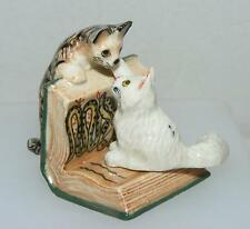 Klima Miniature Porcelain Animals Tabby & White Cats on Book K442