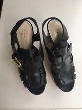 Coach Black Leather Wedge, 5 inch heel, size 6B
