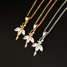 Fashion Dancing Girl Pendant Necklace For Women Rose /White/Yellow Gold Plated