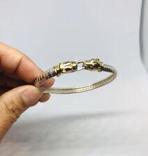 """Vtg Gold Over .925 Sterling Silver Jaguar Lion Panther Head Bracelet 16.4g-7.5"""""""