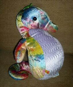 "Build A Bear Plush SPLISH SPLASH SEAHORSE Tie Dyed Rainbow 14"""