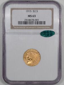 1915 $2.50 INDIAN GOLD QUARTER EAGLE NGC MS-63 CAC, FLASHY & PQ!