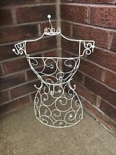 "CREAM METAL / WIRE MANNEQUIN JEWELLERY / NECKLACE STAND WITH JEWELS 20"" TALL"