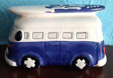 Blue and white VW camper surf van porcelain money box