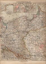 OLD MAP NORDOSTDEUTSCHLAND POMORZE WIELKOPOLSKA MAZURY ŚLĄSK ROK 1902