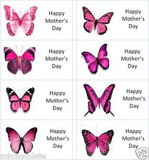 40 x Happy Mothers Day butterfly labels/stickers cakes/sweets/gift bags/presents