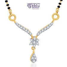 Sukkhi Sleek CZ Gold and Rhodium Plated Mangalsutra Pendant - 122M400