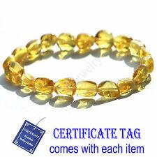 Golden Honey 100%  Genuine Baltic Amber Stretch Bracelet for Adult