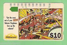 1992 ADVERTISING CARTOON $10 AUSTRALIAN  PHONECARD - VOLUME, THIRD  PRINTING