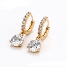"""9ct 9k Yellow """"GOLD FILLED"""" Ladies White Stones Small  Earrings 25mm ,Gift"""