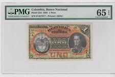 COLOMBIA 1895 BANCO NACIONAL P# 234 1PESO PMG 65 EPQ . GEM UNC. RARE