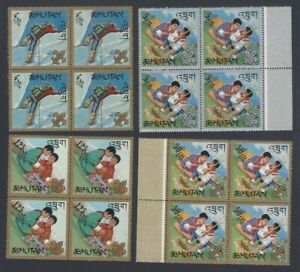AOP Bhutan #86-86e 1967 Boys Scouts set of 6 blocks of 4 MNH