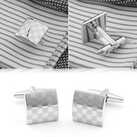 New Silver Square Steel Wedding Party Gift Men's Suit Cufflinks Laser Cuff Links